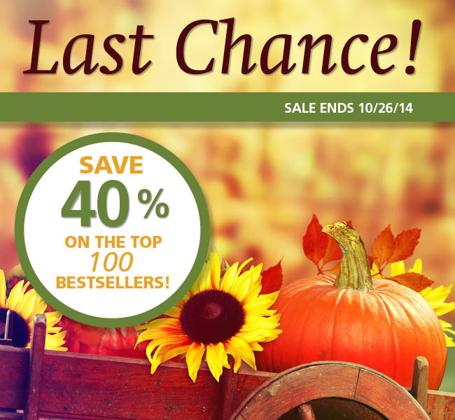 Fall Favorites Sale 2014: Last Chance to Save 40%!